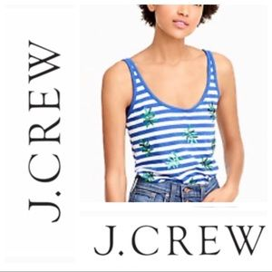 J. Crew striped tank top sequin leaves